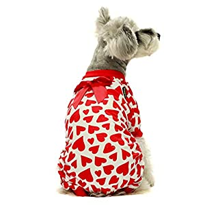 Fitwarm Dog Valentines Day Pajamas Hearts Costumes Pet Clothes Cat Jumpsuits Onesies Jammies Red
