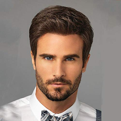 GNIMEGIL Hansome Men Wig Synthetic Short Brown Hair Wigs For Male Guy Costume Party Toupee Wig