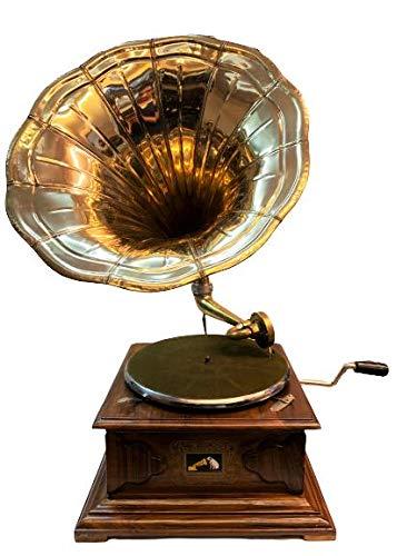 Global Art World The Gramophone Co. His Master Voice HMV Brass Horn Vintage Wooden Art Desk Décor Turntable Antique Machine Musical Box Phonograph A1BG 024