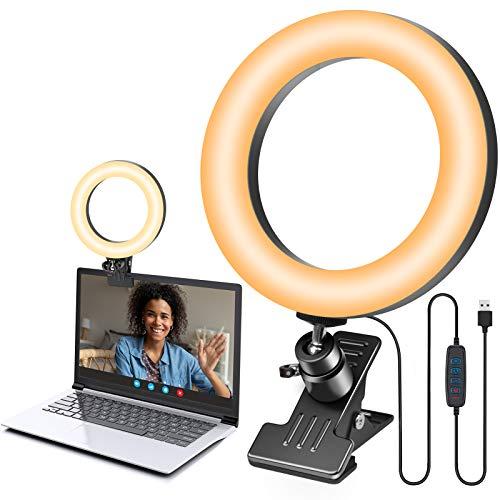 Luce per Videoconferenza, Selfie Ring Light 6.3 pollici per Webcam & Computer/Laptop Portatile, Zoom Luce ad Anello con Clip per Tik Tok, Trucco, Telefono, Fotografia, Youtube