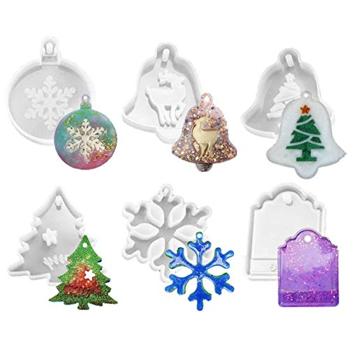 6 Pcs Christmas Resin Molds with Hole Jewelry Pendant Keychain Snowflake Silicone Mold for Christmas Ornament Decorations - Including Snowflake,Xmas Tree,Elk,Bell,Love Tag