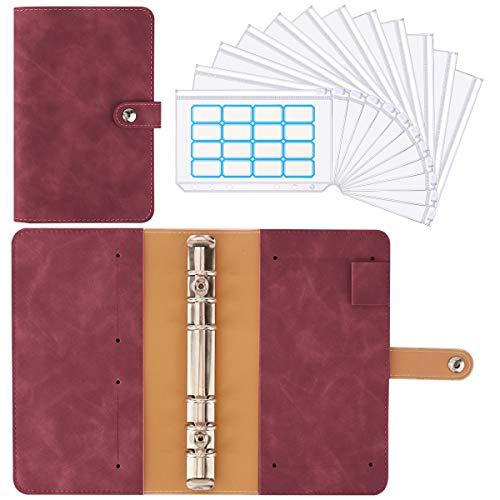 Housolution Carpeta de Cuaderno de 6 Anillas, Cubierta de Hojas Sueltas de Cuero de PU con 12 Sobres de Plástico Transparente con Cremallera A6, Bolsillos y Etiqueta Autoadhesiva - Castaña
