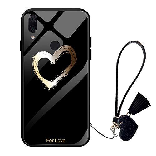 Oihxse Moda Case Compatible para Xiaomi Mi 10 Funda Vidrio Templado con Cuerda Cordón TPU Silicona Suave Bumper Cover Anti-Choques Anti-Rasguños Cáscara de Cristal Estuche,A3