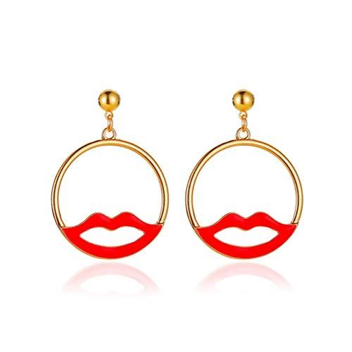 SZYZ Pendientes Labios Rojos Huecos exagerados Pendientes Diseño Simple Pendientes Redondos Oro