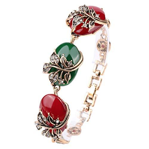 Zuiaidess Armbänder Für Damen,Vintage Persönlichkeit Armband Transparentes Harz Rot Smaragd Armbänder Für Mädchen Im Alltag Der Frauen Schmuck Tragen