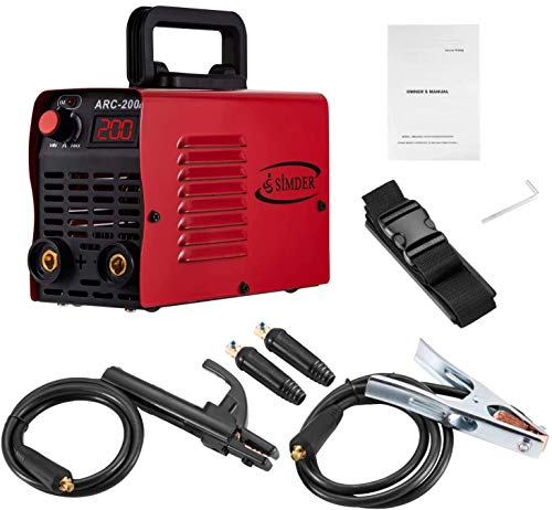 Arc Welder Welding Machine IGBT Inverter DC mini Electric Welders free Accessories Tools High Frequency Household Stick Welder for Novice Welders Below 4.0mm Electrode (yellow welder) (red)