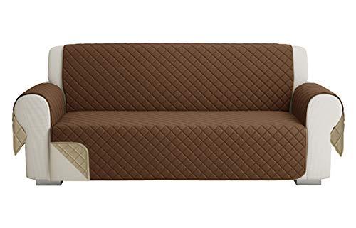 Fundas para Sofa Acolchado, Funda De Sofas 3 Plazas (170 CM), Cubre Sofa Reversible Bicolor, Beige / Marrón