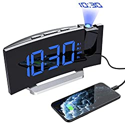 Mpow Projection Alarm Clock, FM Radio Alarm Clock, Digital Clock with USB Phone Charger, 5'' Large Curved LED Display,  6 Dimmer, Dual Alarm with 4 Sounds,  Snooze, 12 24H, Alarm Clocks for Bedrooms