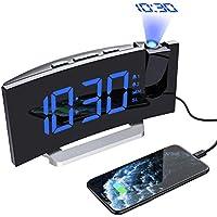 Mpow Despertadores Digitales de Proyector, Radio Despertador, Alarma Dual con 4 Sonidos, 3 Volúmenes, 6 niveles de Brillo de Display y 4 de Proyección, 15 Radio FM,Puerto USB (Incluido el Adaptador)