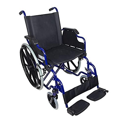 Mobiclinic Standard-Rollstuhl, Faltrollstuhl, Klapparmlehnen, Blauer Rahmen mit schwarzem Sitz, Sitzbreite 43 cm, Modell Giralda