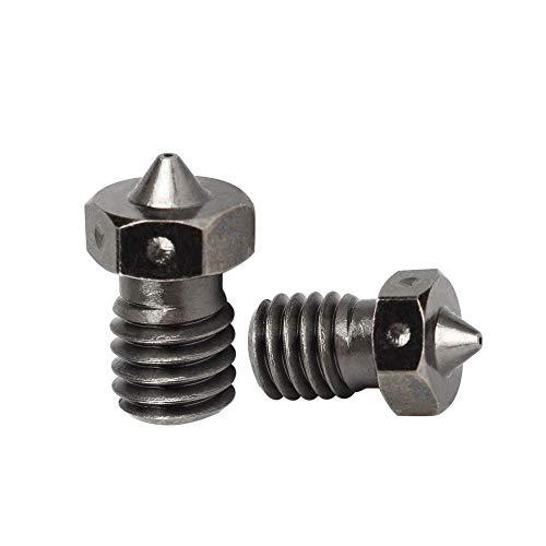 BCZAMD 3D Drucker aus gehärtetem Stahl V6 Düsen 0,4 mm für Hochtemperatur 3D Druck PEI PEEK Kohlefaser PLA 1,75 mm Filament für 3D V6 Titan Aero Lite6 Hotend Prusa i3, 2 Stk