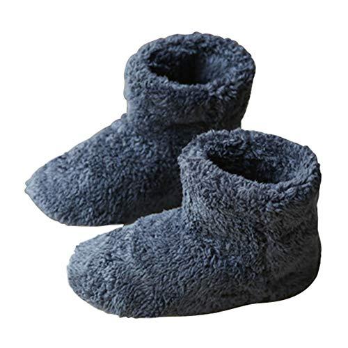 ルームシューズ もこもこ ルームブーツ 暖かい ボアスリッパ 男女兼用 冬用 室内 ボアスリッパ 洗える レディース メンズ (ブルー, XL)
