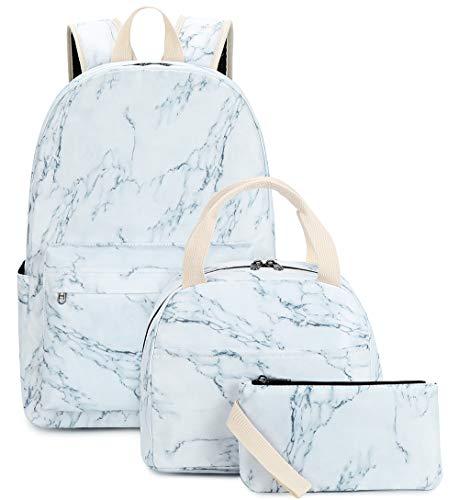 BLUBOON School Backpack Teens Bookbags Travel Laptop Daypack Kids Schoolbag Girls Lunch Bag Pencil Case (Marble-2-0119)