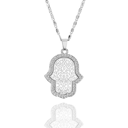 Choker Necklace for Women Hamsa Hand with CZ Crystal Pendant Necklace Long Chain Necklace Jewellery for Girls (Silver Plated)