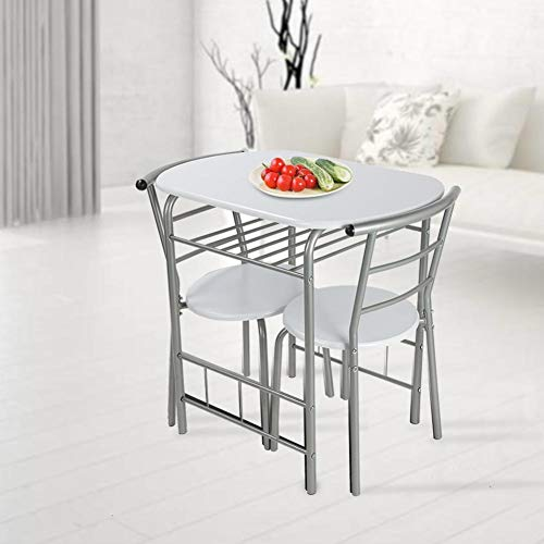 Table Chair Set,Dining Table and 2 Chair Set Breakfast Table Chairs Garden Kitchen Desk Chair Furniture Set with Metal Steel Frame for Dining Room Living Room Restaurant White