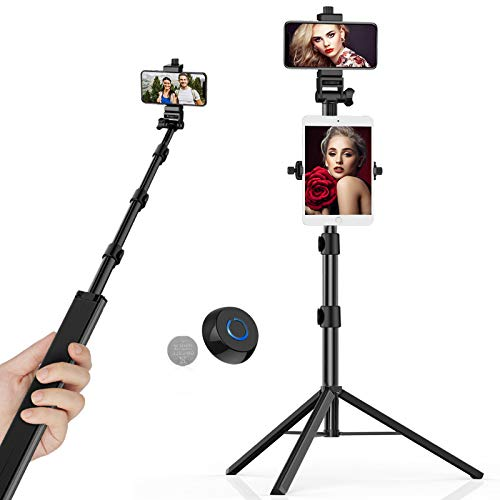 "Selfie Stick Tripod, 2-in-1 Tablet/Phone Mount Detachable, TECELKS 56"" Reinforced Aluminum Alloy Tripod with Phone Holder, Bluetooth Remote Shutter, Perfect for Tablet/GoPro/Camera"