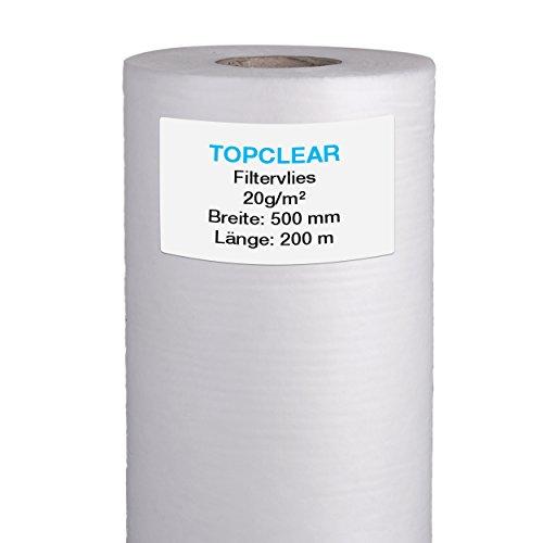 Filtervlies für Vliesfilter | Vliesrolle 200m x 50cm 20g/m² | für alle Koi Teich Vlies-Filter geeignet | hydrophiles wasserdurchlässiges Fleece | 500mm Topclear Filtervlies in Profiqualität