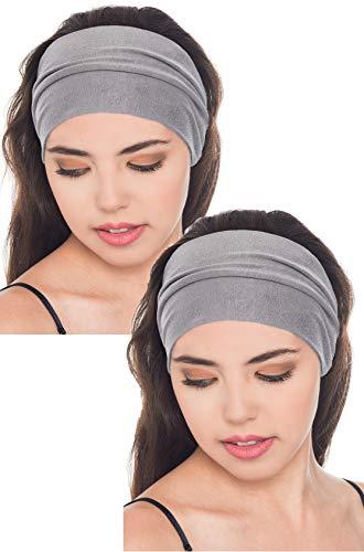 Baumwolle Stirnband für Dammen Frauen (Grau - 2 Pieces)