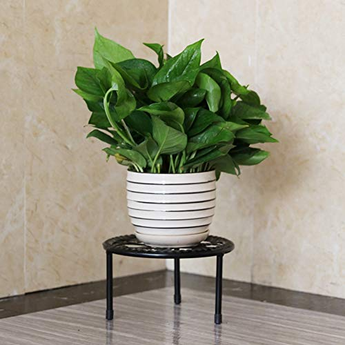 Support de fleurs Simple-Couche en Fer forgé Fleur Stand-Debout Balcon Salon Fleur Pot Rack Simple et Stable bonsaï présentoir 21 * 12 cm (Couleur : Black)