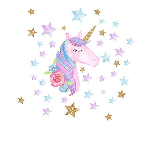 AIYANG Unicorn Wall Stickers Rainbow Colors Wall Decals Reflective Wall Stickers for Girls Bedroom Playroom Decoration (Stars,Right)