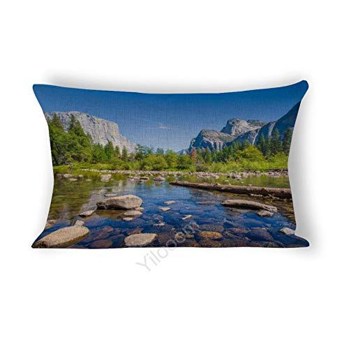 Funda de cojín rectangular de 30,5 x 45,7 cm, para cama, sofá, coche, decoración del hogar, Valle de Osemita en verano