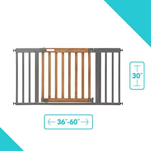 Summer West End Safety Baby Gate, Honey Oak Stained Wood with Slate Metal Frame 30 Tall, Fits Openings up to 36 to 60 Wide, Baby and Pet Gate for Wide Spaces and Open Floor Plans
