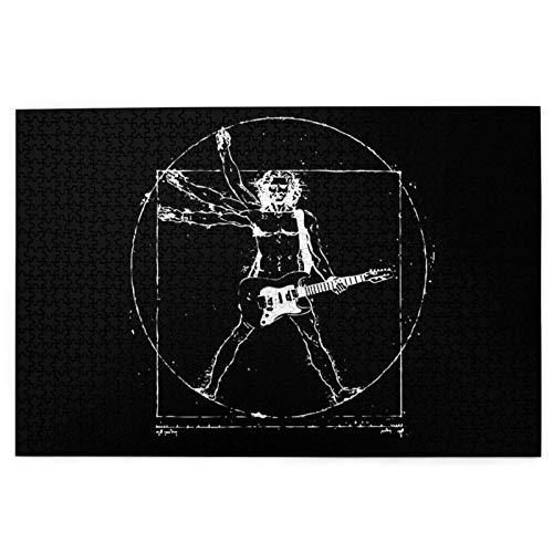 KIMDFACE Rompecabezas Puzzle 1000 Piezas,Guitarra eléctrica Negra Guitarra Leonardo Da Vinci Música...