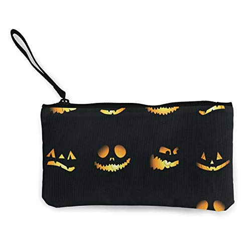 Moneda de lona, bolso de calabaza de Halloween con cremallera, bolsa de cosméticos de viaje multifunción, bolsa de maquillaje para teléfono móvil, paquete de lápices con asa