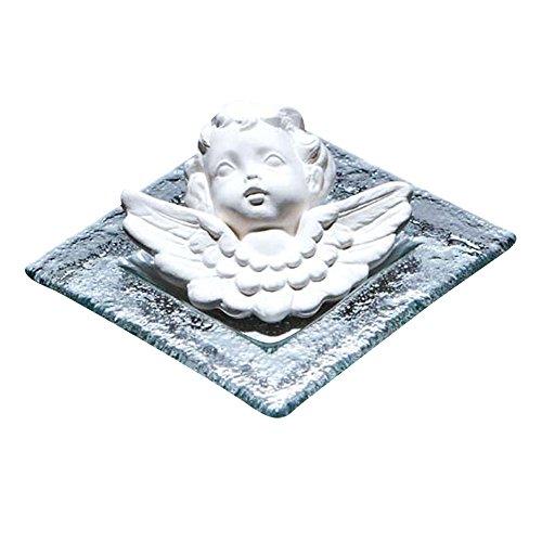 Objeto decorativo aromático, cerámica perfumada Ángel Uriel con platillo cuadrado de cristal A: 4 cm 10x10 cm