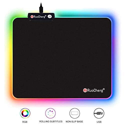 RuoCherg Gaming Mauspad mit RGB Beleuchtung, 7 LED Farben 10 Beleuchtungs-Modi USB Gaming Mouse Mat, Desk Anti Rutsch Matte für Computer, Professionelle Gamer (250 * 300)