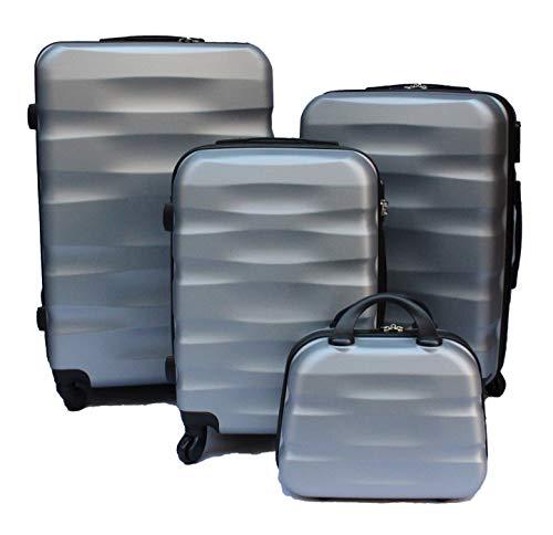 R.Leone Valigia da 1 pezzo Fino a Set 4 Trolley Rigido grande, medio, bagaglio a mano e beauty case 4 ruote in ABS 2050 (Argento, Set 3 S+M+L)