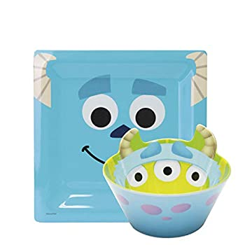 Zak Designs Disney Pixar Party Monsters Inc - Kids Dinnerware Set Includes 8  Square Melamine Plate and 5.9  Sculpted Bowl Non BPA Break Resistant Plate and Bowl Make Mealtime Fun
