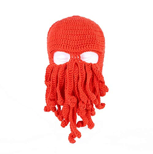 YUY Novedad Divertida Fiesta Pulpo Barba Sombrero Unisex Animal Tentáculo de Ganchillo Tejido Máscara de Viento Gorro de Esquí Sombreros de Halloween Disfraz Creativo Cosplay,Orangered