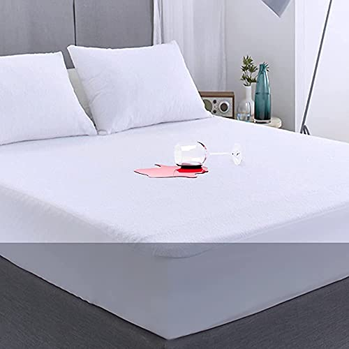FGZ Full Size Mattress Protector Bed Cover Waterproof Full Matressprotector Washable White Noiseless Premium Soft Cotton Terry Vinyl-Free Full Size Mattress Protector for Pets Kids Adults 54' 75'