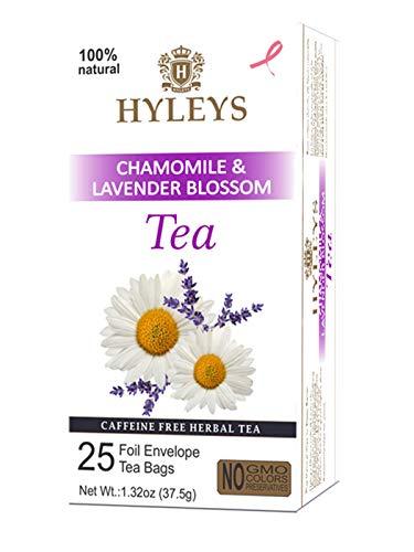 Hyleys Sleep Lavender Blossom Herbal Tea - 25 Tea Bags (Caffeine Free, Gmo Free, Gluten Free, Dairy Free, Sugar Free & 100% Natural, Decaf) Relax, Calming