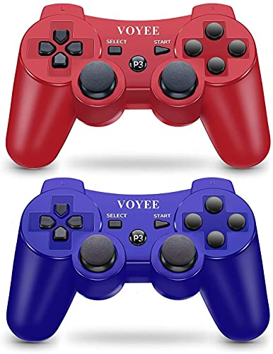 VOYEE Controller Replacement for PS-3 Controller, Wireless Move/Motion Controller Gamepad with Upgraded Joystick Compatible with Play-Station 3 (Red & Blue)