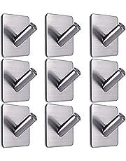 Newberry Handdoekhaken, 4 stuks zelfklevende handdoekhouders, kleefhaken, wandhaken, kledinghaken van roestvrij staal, zonder boren, handdoekhaken voor badkamer en keuken, zilver