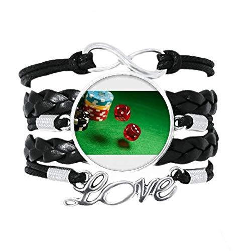 Dice Chips Mesa Verde Foto Pulsera de Amor Adorno de Cuero Torcido Hilo de muñeca