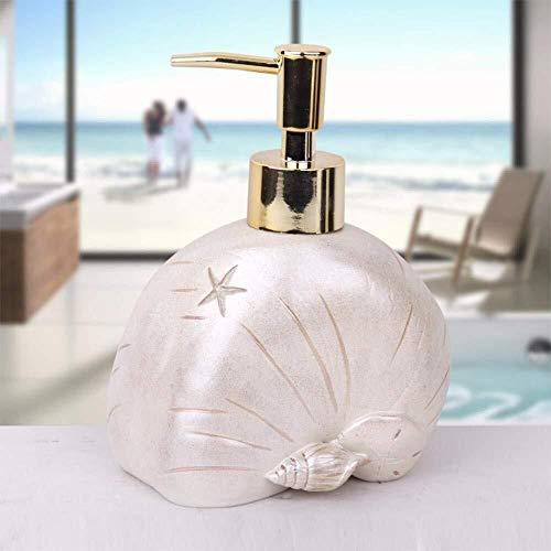 Dispensador de jabón líquido PGS hecho a mano, diseño original de concha de mar, rellenable con champú de resina ecológica, botella desinfectante de manos líquida, 300 ml