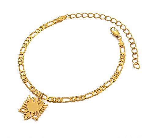 SHIZHEN Moda Temperamento Albania Viento étnico Pulsera de águila de Dos Cabezas Pulsera de Plata/Oro Pulsera Joyería Regalo étnico-Pulsera de Oro 21cm Solamente