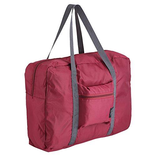 Fdit Bolsas de Viaje Plegables Maletas Bolsas de Mano Bolsas de Almacenamiento Organizador para Hombre y Mujer (Rojo Vino)