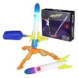 genialkiki Lanzador de Cohetes Juguete Lanzador de Cohetes para niños con 2 Cohetes de Salto de Aire para niños, Lanzador de Cohetes de Salto de Cohetes de Alto Aire para Jugar al Aire Libre