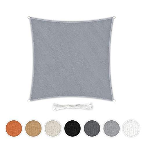 Hometex Premium Textiles Sonnensegel 3×3m Quadratisch inkl. Befestigungseile | Hellgrau | Sonnenschutz ideal für Garten, Terrasse, Balkon, Camping | Windabweisender Schattenspender