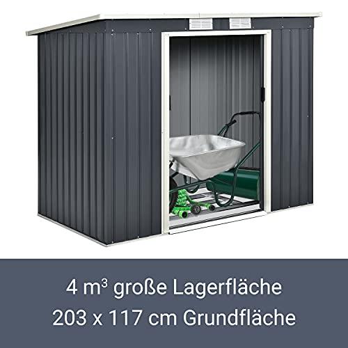 Juskys Metall Gerätehaus M mit Pultdach, Schiebetür & Fundament   4m³   anthrazit   Geräteschuppen Gartenhaus Schuppen Metallgerätehaus - 4