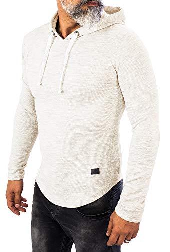 Rock Creek Herren Longsleeve Shirt Langarm Hoodie Sweatshirt Kapuzenpullover Langarmshirt Herrenpulli Street Style H-143 Weiß M