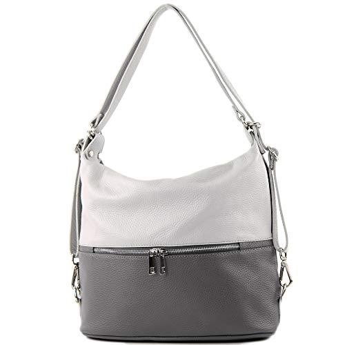 modamoda de - T189 - ital. Damen Rucksack Tasche 2in1 aus Leder, Farbe:Dunkelgrau/Grau