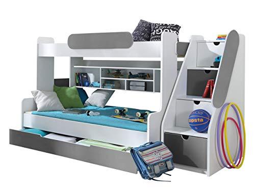 Etagenbett Segan Hochbett mit Bettkasten, Farbauswahl, Modern Bett für Kinderzimmer (Weiß/Graphit, ohne Matratze)