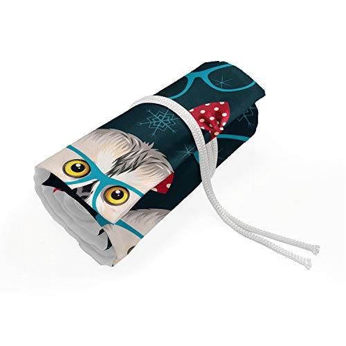 ABAKUHAUS Geek Mäppchen Rollenhalter, Sketch Owl Brille, langlebig und tragbar Segeltuch Stiftablage Organizer, 72 Schlaufen, Mehrfarbig
