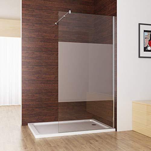 MIQU Duschabtrennung walk in Duschwand Seitenwand Dusche 10mm NANO teilsatiniert Glas Duschtrennwand 70x200 cm CC