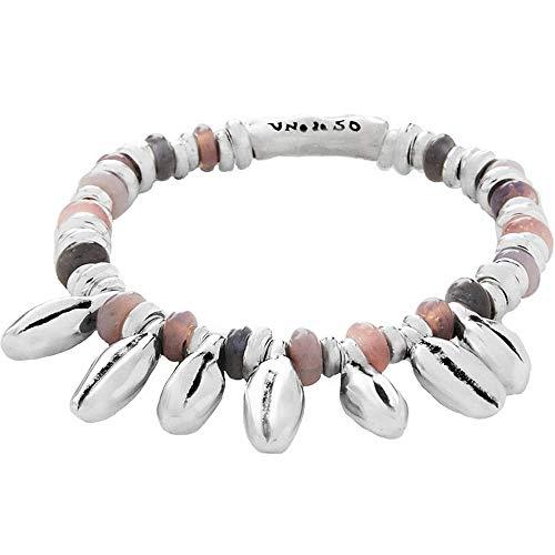UNO de 50 'En el camino' - Pulsera elástica para mujer con cuentas bañadas en plata y cristales de colores.